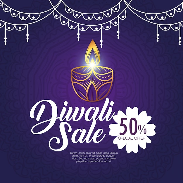 Happy diwali sale with candles Free Vector