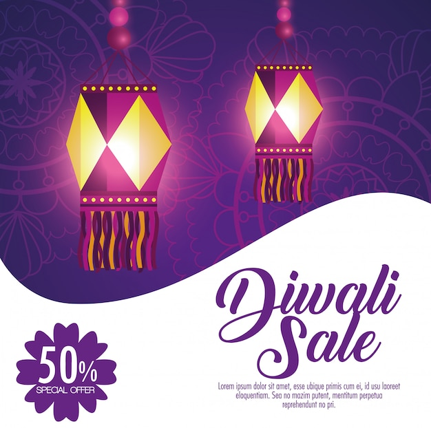 Happy diwali sale with lanterns Free Vector