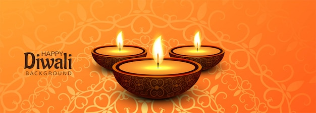 Happy diwali social media promotional banner with illuminated oil lamps Free Vector