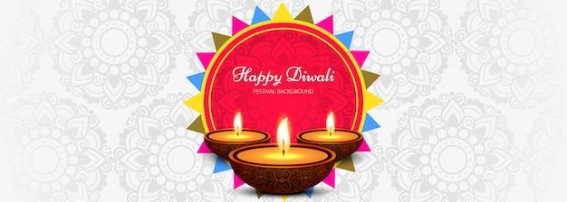 Happy diwali social media promotional banner Free Vector