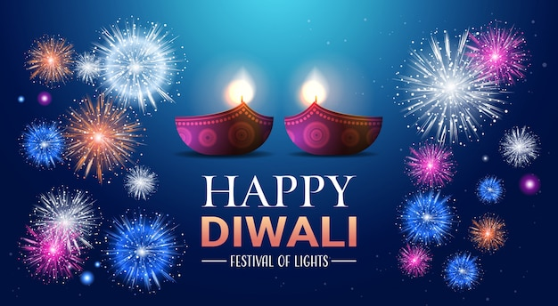 Happy diwali traditional indian lights hindu festival celebration banner Premium Vector