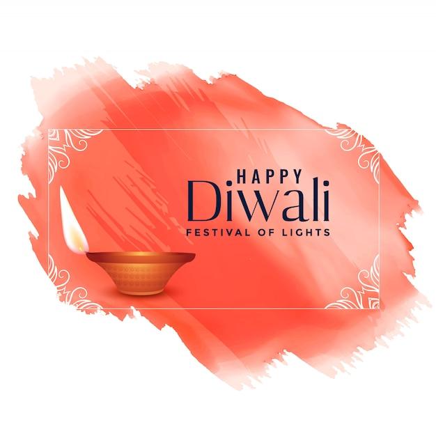 Happy diwali watercolor festival background Free Vector