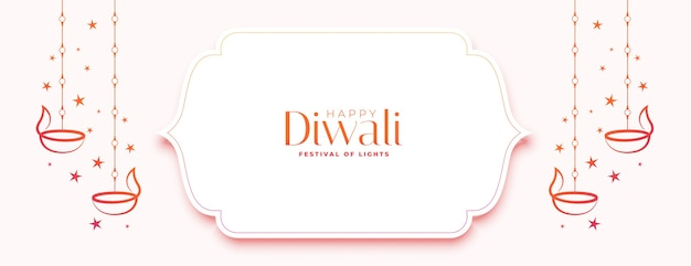 Bandiera bianca felice di diwali con diya e stelle Vettore gratuito