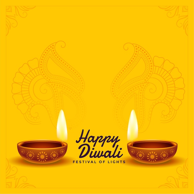 Happy diwali wishes background with realistic diya Free Vector