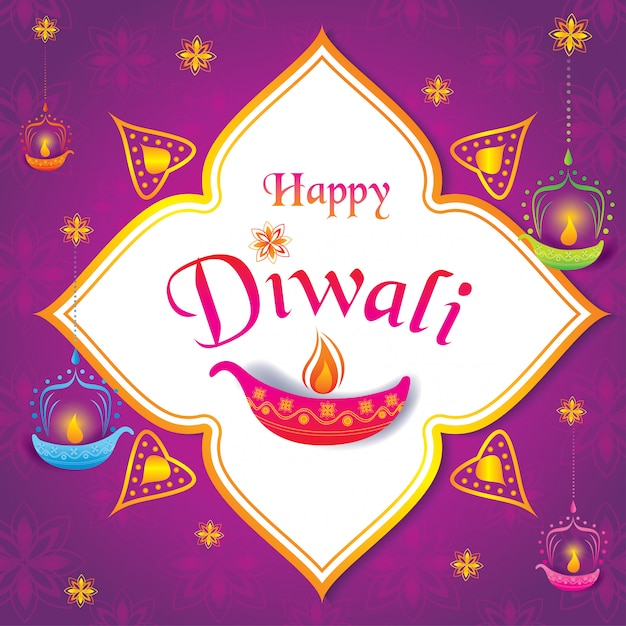 Happy diwali with lantern and pattern. Premium Vector