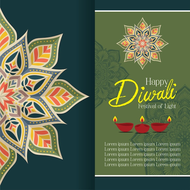 Happy diwali with mandala oil lamp design vector Premium Vector