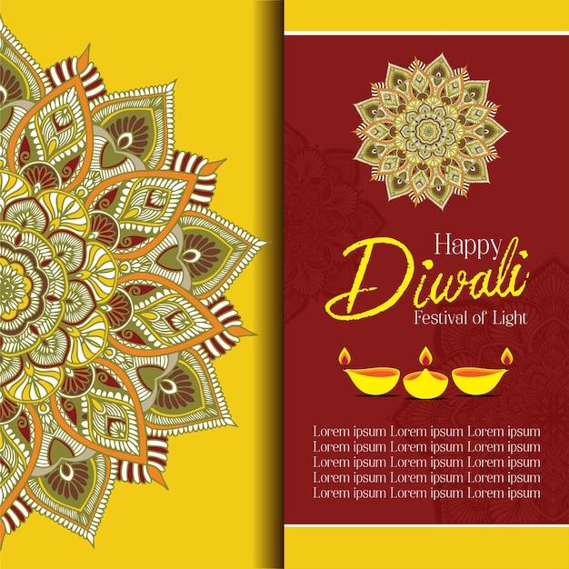 Happy diwali with mandala oil lamp design vector Premium Vector