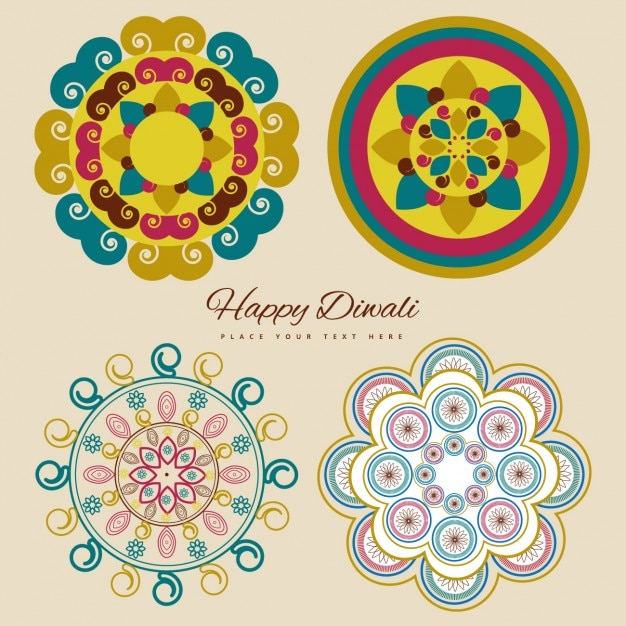 Happy Diwali With Symbols Vector Free Download
