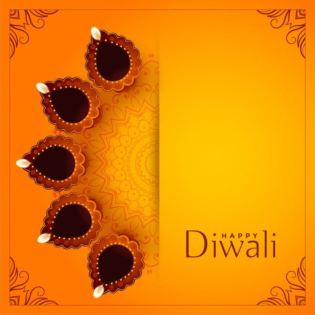 Happy diwali yellow background with decorative diya Free Vector