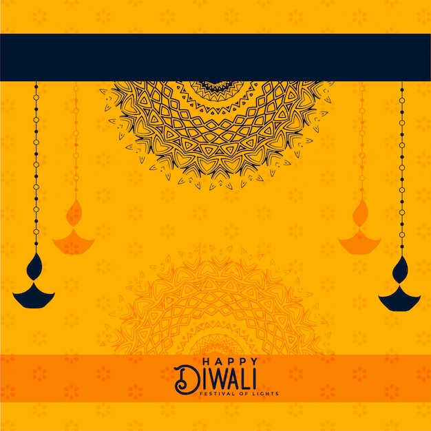 Happy diwali yellow decorative background Free Vector
