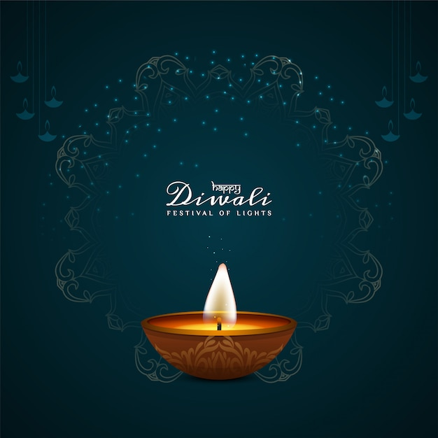 Красивый happy diwali декоративный с масляной лампой Бесплатные векторы
