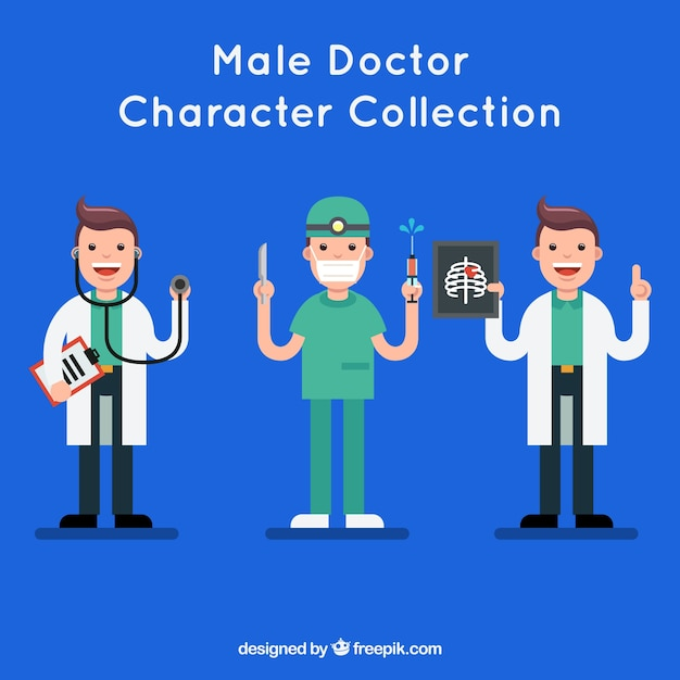 Happy doctor character collection Free Vector