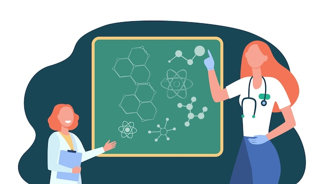 아이에게 분자 유전학을 설명하는 행복한 의사. 만화 그림 무료 벡터