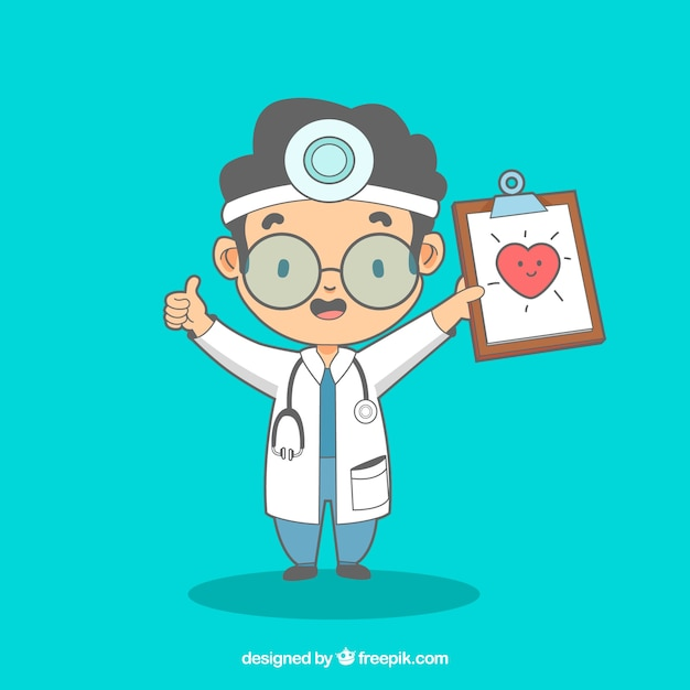 Happy doctor with clipboard Free Vector