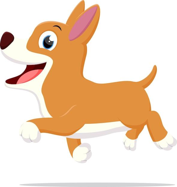 Happy Dog Cartoon Running Premium Vector
