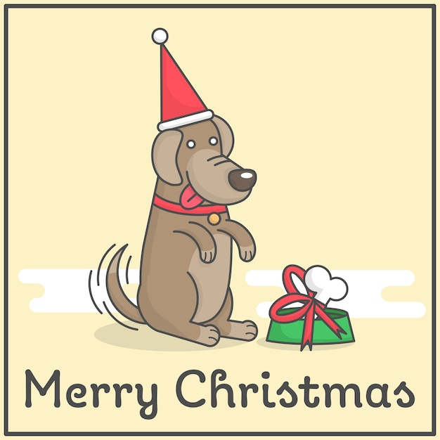 Happy dog with merry christmas gift in cute flat cartoon design for decoration and design Premium Vector