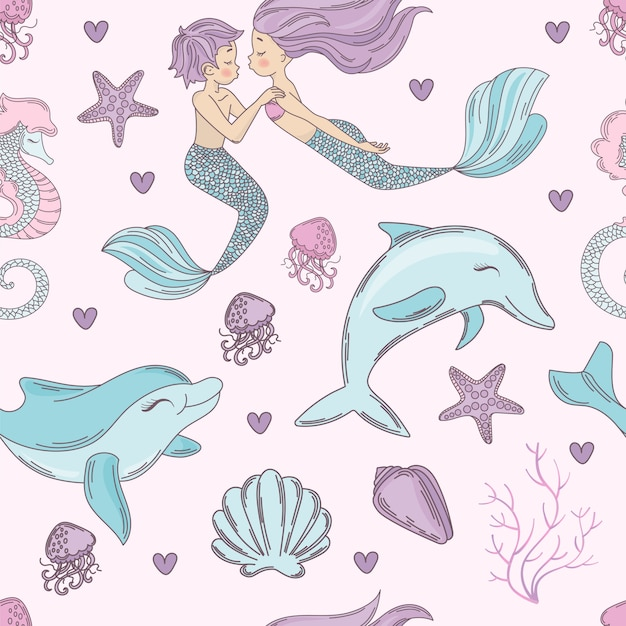 Happy dolphin mermaid seamless pattern vector illustration Premium Vector