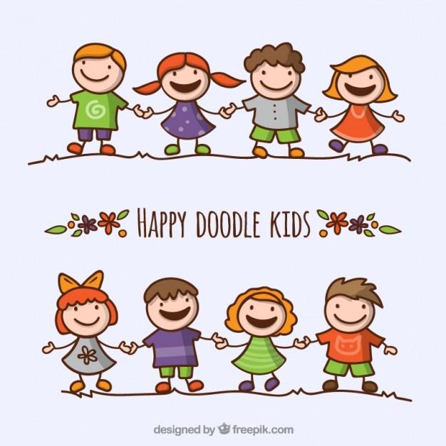 happy doodle kids pack free vector