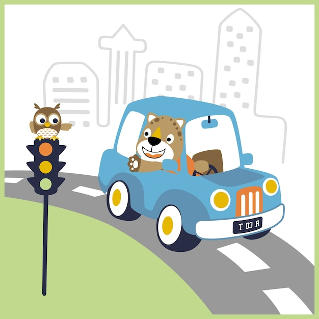 Happy driver cartoon on little car Premium Vector