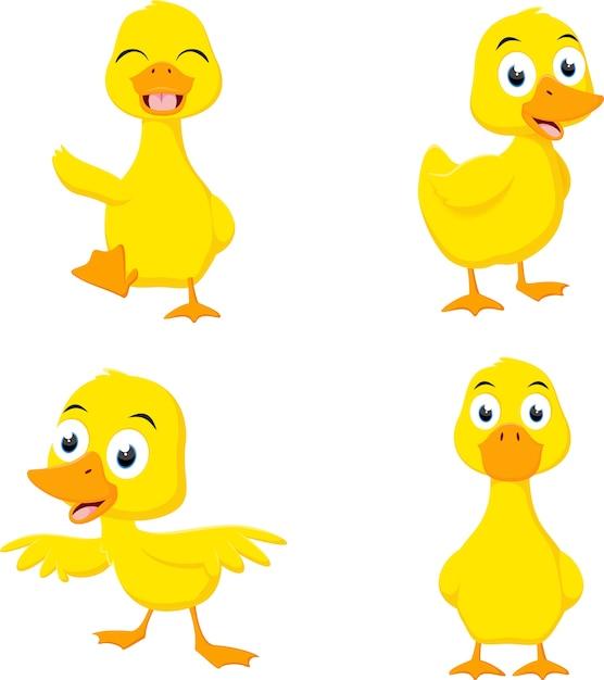 Happy duck cartoon collection set Premium Vector