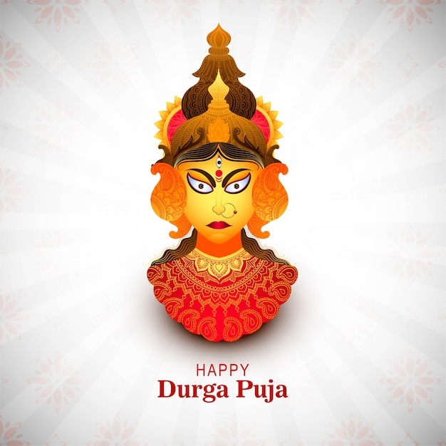 Happy durga pooja indian festival card background Free Vector