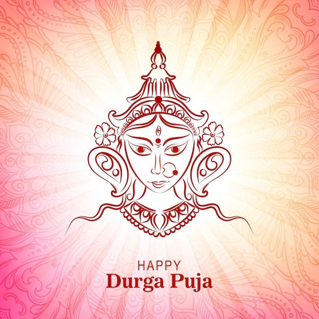 Happy durga pooja indian festival card colorful background Free Vector