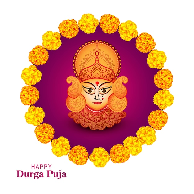 Happy durga pooja indian festival card Free Vector