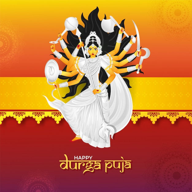 Happy Durga Puja Celebration Greeting Card Design Vector