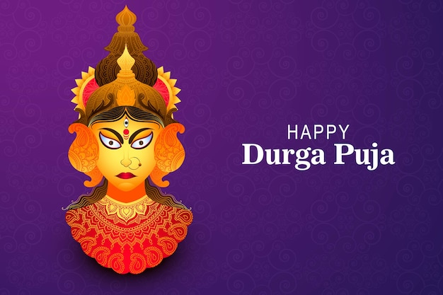 Happy durga puja greeting card festival background Free Vector
