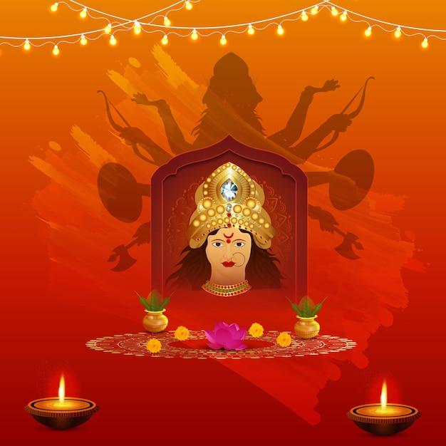 Ashtami 배경 디자인으로 행복한 Durga Puja 프리미엄 벡터