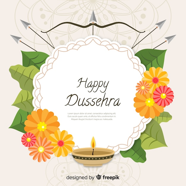Happy dussehra background in flat style Free Vector