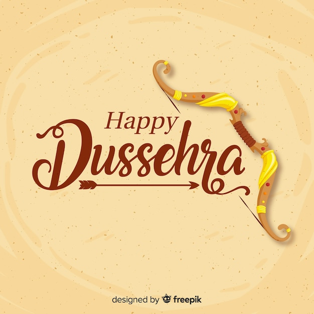 Happy dussehra background in hand drawn style Premium Vector
