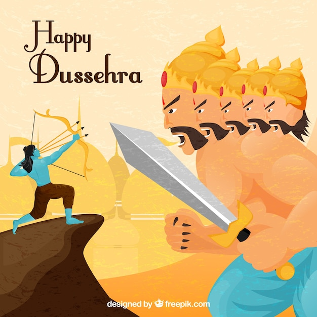 Happy dussehra background with archer fighting\ warrior