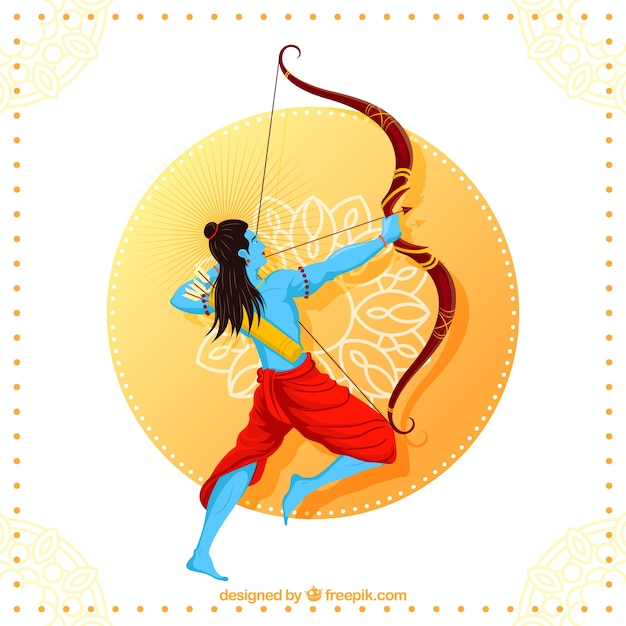 Happy dussehra background with blue archer Free Vector