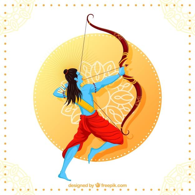 Happy dussehra background with blue archer Premium Vector