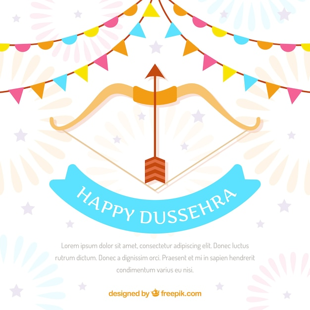 Happy dussehra background with bow Free Vector