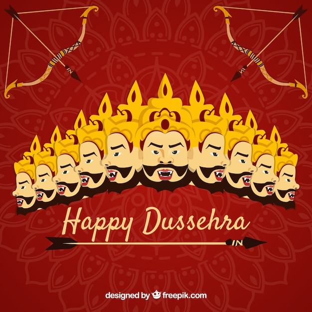 Happy dussehra background with faces Free Vector