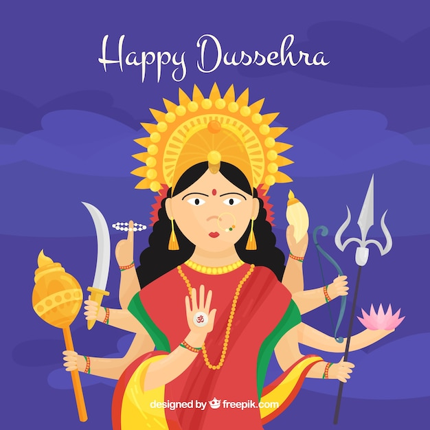 Happy dussehra background with a god Free Vector
