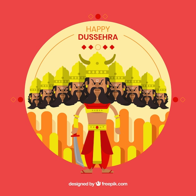Happy dussehra background with warrior Free Vector