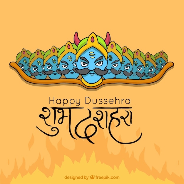 Happy dussehra background Free Vector
