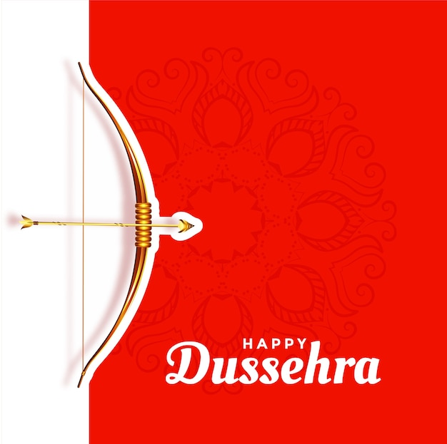 Happy dussehra beautiful red greeting Free Vector