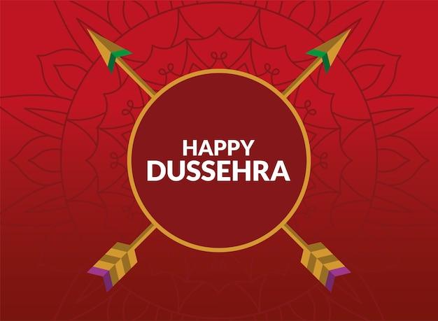 빨간색 원 안에 화살표와 함께 행복 Dussehra 카드 프리미엄 벡터