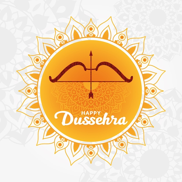 Happy dussehra card with bow and arrow on orange Premium Vector