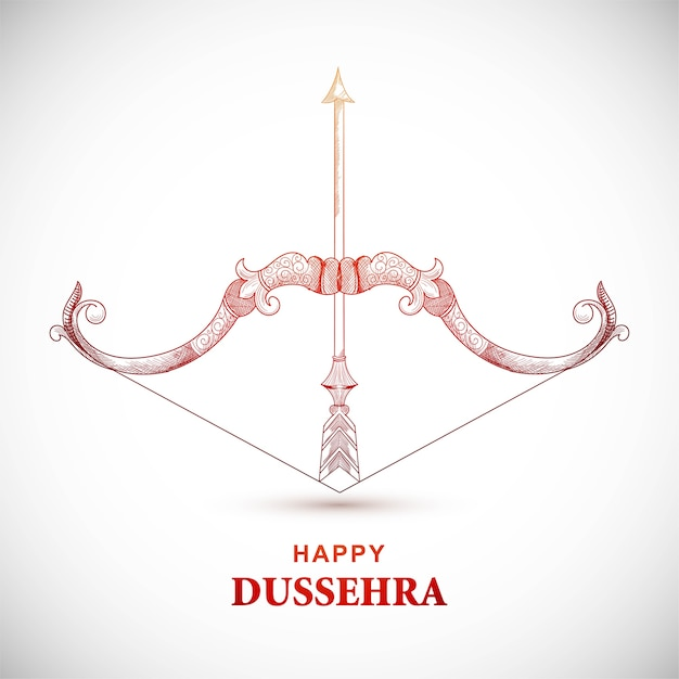Happy dussehra card with bow and arrow Free Vector