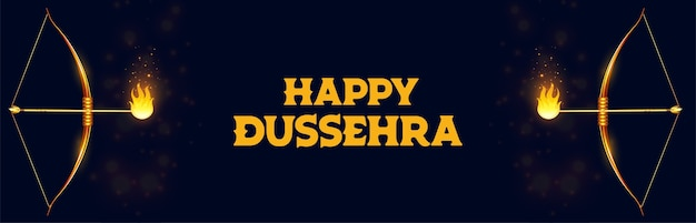 Happy dussehra celebration banner with bow and flamed arrow vector Free Vector