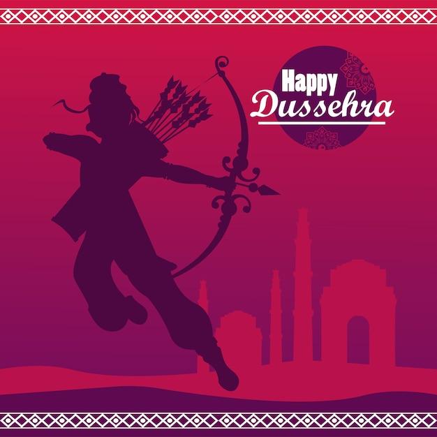 보라색 배경에서 신 라마 그림자와 함께 행복 Dussehra 축하 카드. 프리미엄 벡터