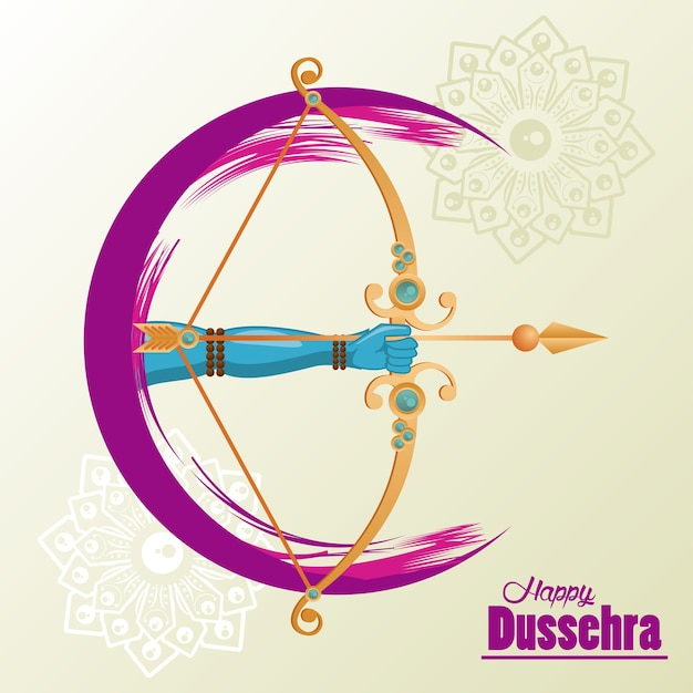 Happy dussehra celebration card with hand and arch. Premium Vector