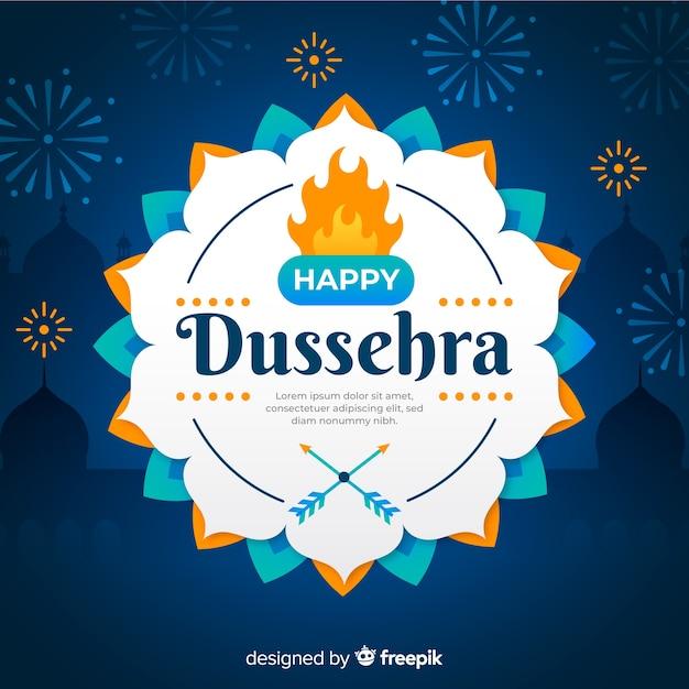 Happy dussehra celebration on flat design Free Vector