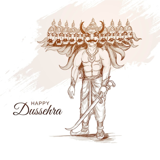 Happy dussehra celebration ravan with hand draw sketch design Free Vector