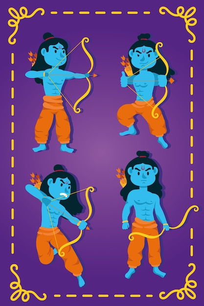 領主のラマの青いキャラクターとの幸せなdussehraのお祝い Premiumベクター